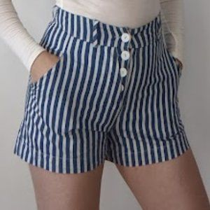 White Blue Stripped High-Waisted Shorts Canadian Designers Annie 50 XS